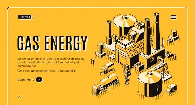 Isometrische vektornetzfahne des erdgas- und energieversorgungsunternehmens oder landungsseitenschablone mit carg Kostenlosen Vektoren