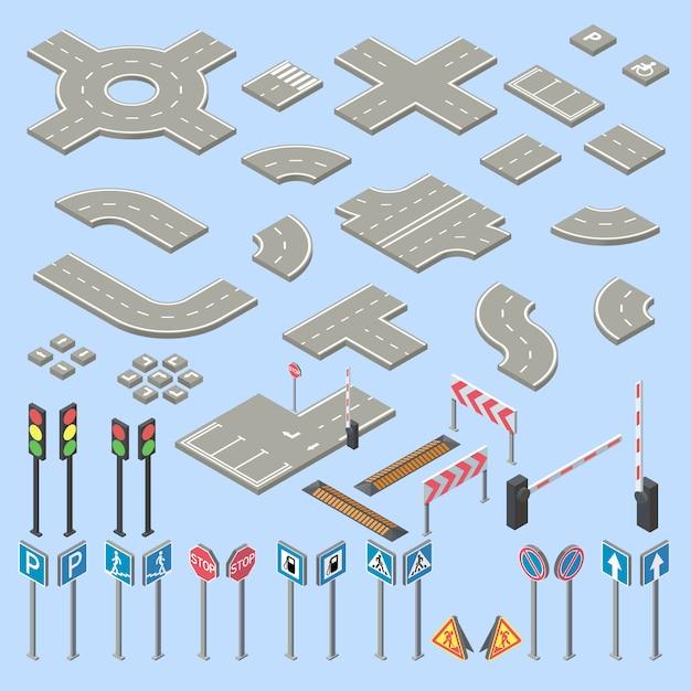 Isometrische Verkehrsschildersammlung 3d, Stücke der Straße, Landstraße Kostenlose Vektoren