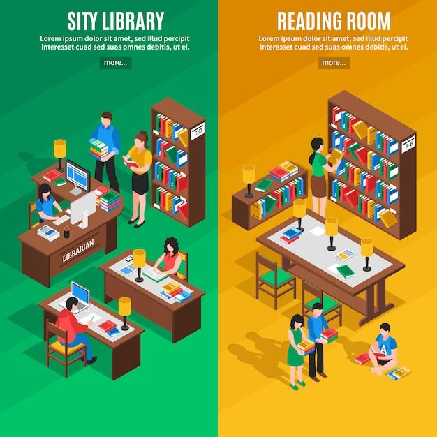 Isometrische vertikale banner der bibliothek Kostenlosen Vektoren