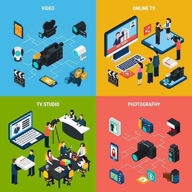 Isometrische videozusammensetzung des fotos des berufsfernsehens und der fotoausrüstung mit menschlichen charakteren Kostenlosen Vektoren