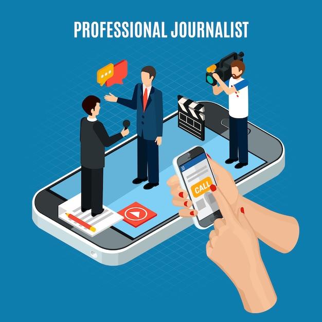 Isometrische videozusammensetzung des fotos mit charakteren des kameramannjournalisten und -interviewten auf smartphoneschirm Kostenlosen Vektoren