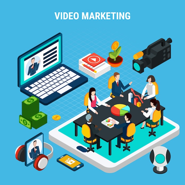Isometrische videozusammensetzung des fotos mit elementen der marketing-teambesprechung auf tablettenschirm Kostenlosen Vektoren