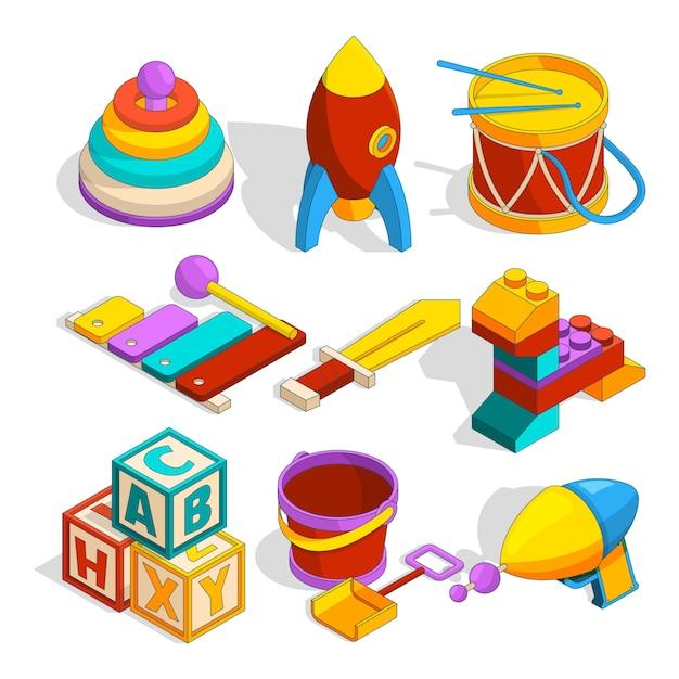 Isometrische vorschulkinderspielzeug Premium Vektoren