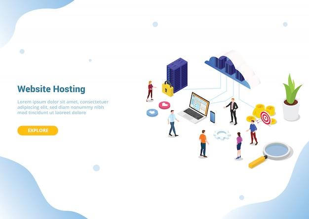 Isometrische web- oder website-hosting-business-service für web- oder website-vorlage Premium Vektoren