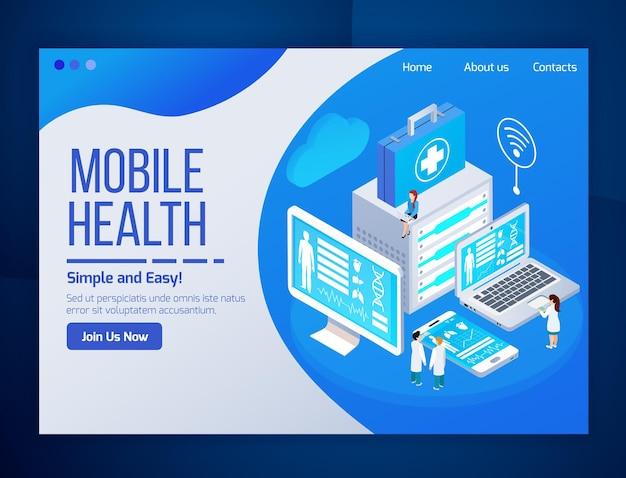 Isometrische webseite des mobilen gesundheitswesentelemedizin-glühens mit laptop-tablettentelefonschirmen der medizinischen tests Kostenlosen Vektoren