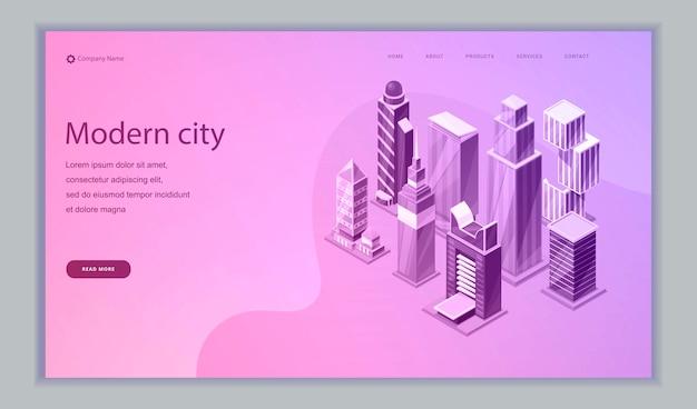 Isometrische webvorlage für smart city. intelligente gebäude. straßen smart city mit computernetzwerk verbunden. Premium Vektoren