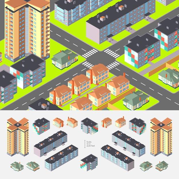 Isometrische wohngebäude Premium Vektoren