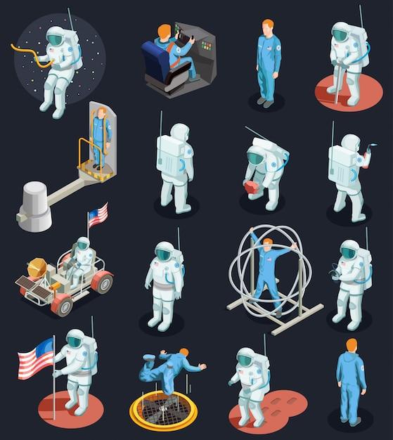 Isometrische zeichensätze der astronauten Kostenlosen Vektoren