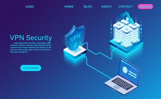 Isometrische zielseite der sicherheitstechnologie für virtuelle private netzwerke Premium Vektoren