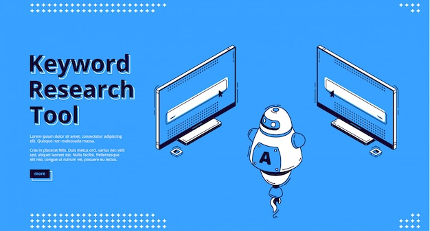 Isometrische zielseite des keyword-recherche-tools. Kostenlosen Vektoren