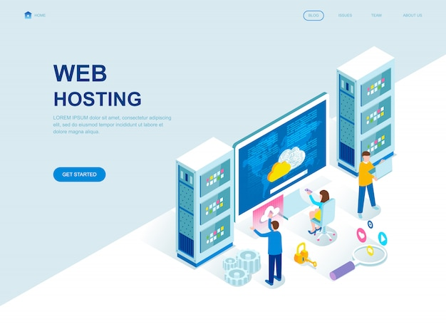 Isometrische zielseite des modernen flachen designs von webhosting Premium Vektoren