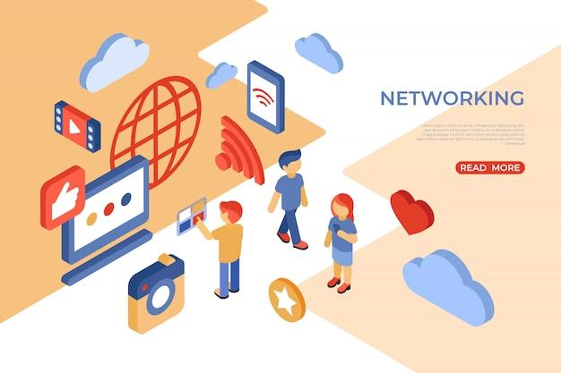Isometrische zielseite des social networking und des internets Premium Vektoren
