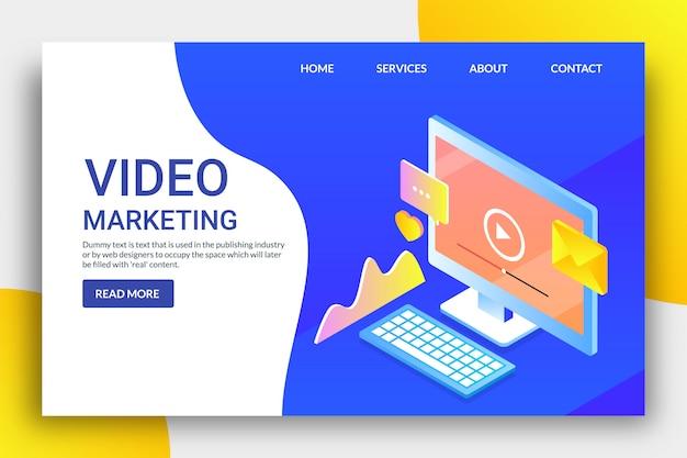 Isometrische zielseite des videomarketings Premium Vektoren
