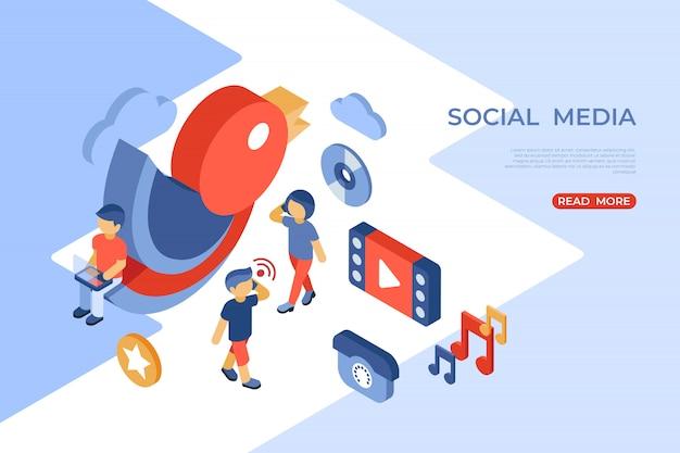 Isometrische zielseite für social media und kommunikation Premium Vektoren