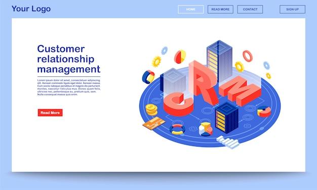 Isometrische zielseitenvorlage für die datenbank zur kundenbeziehungsverwaltung. crm-hosting-website-oberfläche. Premium Vektoren