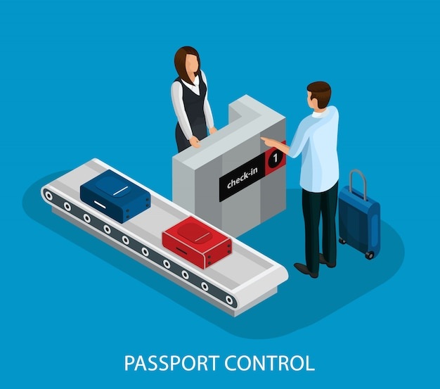 Isometrische zollkontrolle im flughafenkonzept Kostenlosen Vektoren
