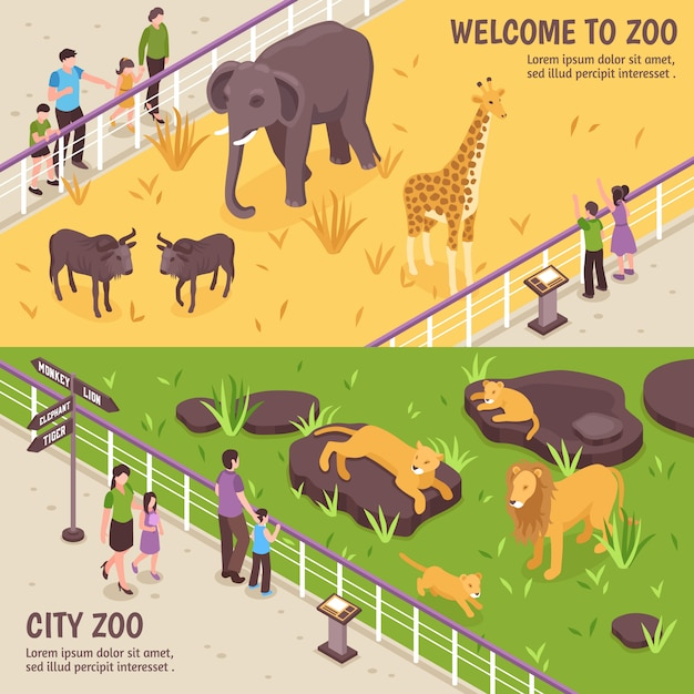 Isometrische zoo-horizontale fahnen Kostenlosen Vektoren
