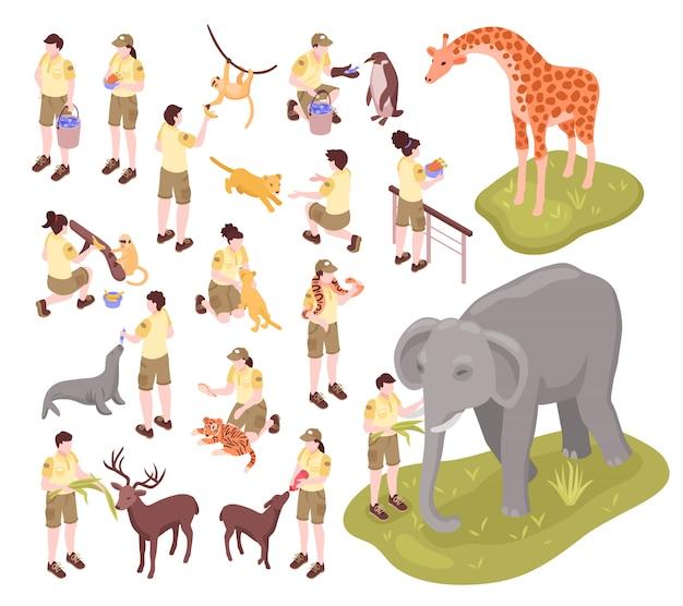 Isometrische zooarbeiter setzen menschliche charaktere von tierpflegern und tieren auf leerem hintergrund ein Kostenlosen Vektoren