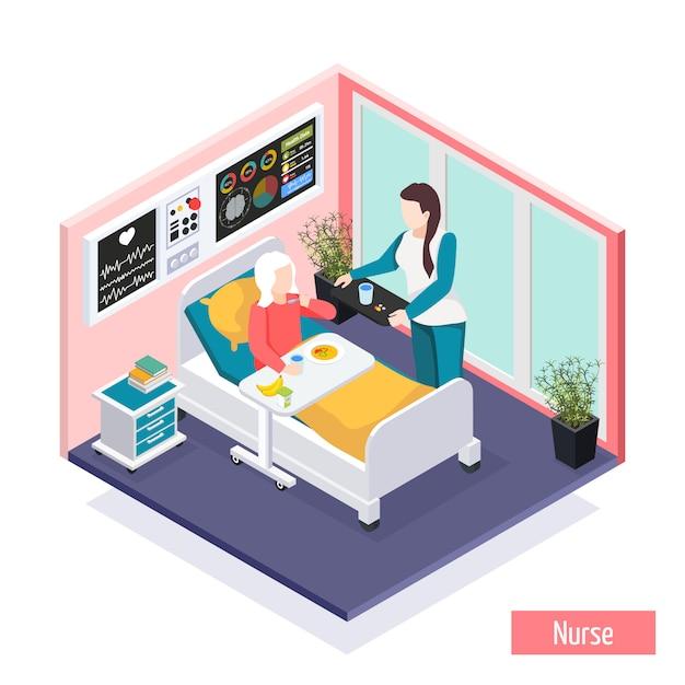Isometrische zusammensetzung der altenpflegeheim-einrichtung mit dem personal, das sorgfalt für bewohnerillustration leistet Kostenlosen Vektoren