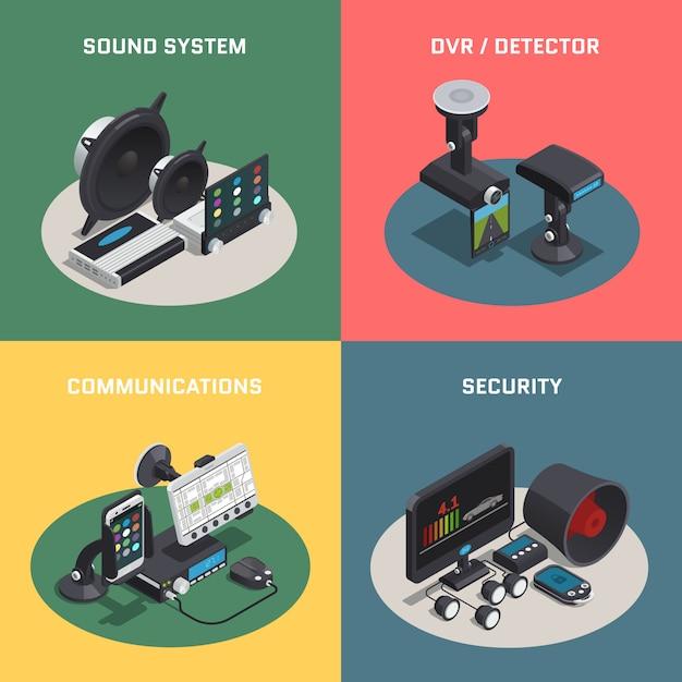 Isometrische zusammensetzung der autoelektronik mit vier quadraten des autos mit soundsystem dvr-detektorkommunikation Kostenlosen Vektoren