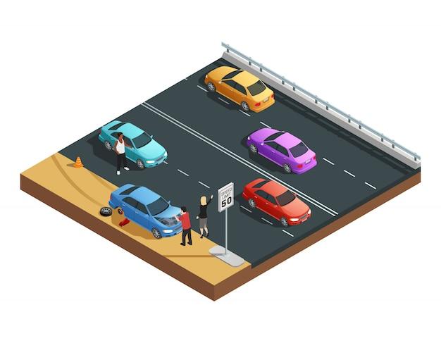 Isometrische zusammensetzung der autounfälle mit zwei leuten, die einen flachen reifen haben und um hilfsvektor illu bitten Kostenlosen Vektoren