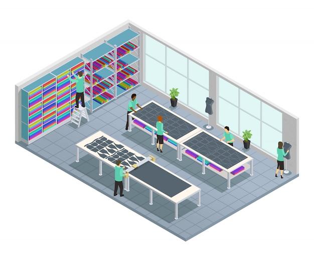Isometrische zusammensetzung der bekleidungsfabrik mit arbeitsablauf für bekleidungsfirma im shop im fabrikvect Kostenlosen Vektoren