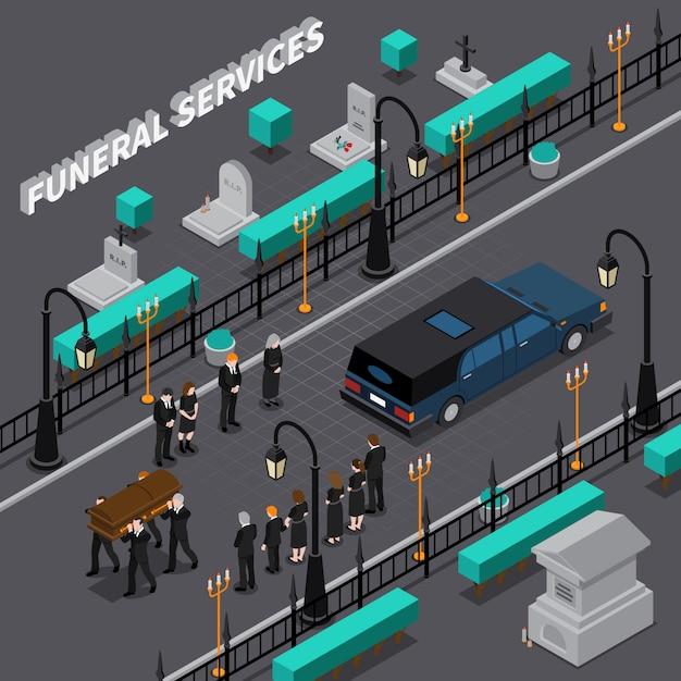 Isometrische zusammensetzung der bestattungsdienstleistungen Kostenlosen Vektoren
