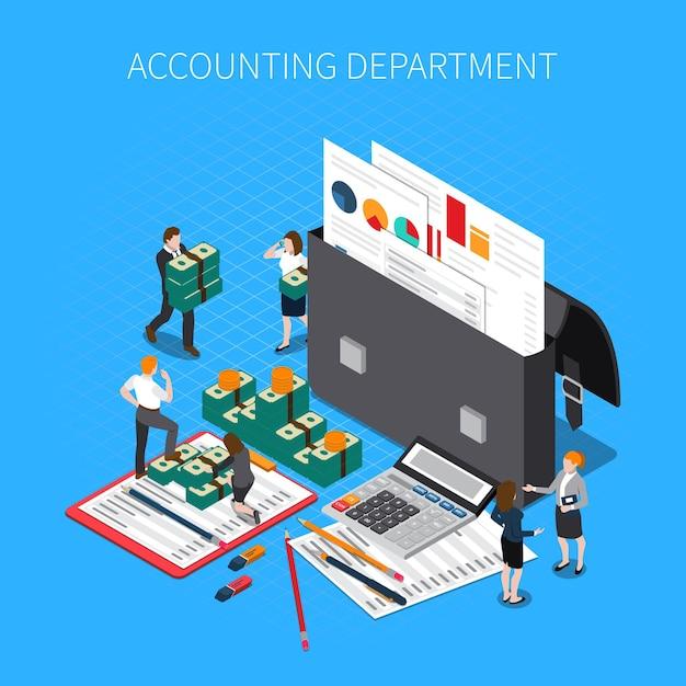 Isometrische zusammensetzung der buchhaltungsabteilung mit finanzdokumentordnerberichtsaussagen-steuerrechnerbargeld-banknotenpersonal Kostenlosen Vektoren