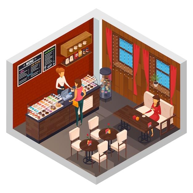 Isometrische zusammensetzung der café-innenrestaurantpizzeria-bistro-kantine mit kuchenshop-anzeigenzähler und besuchersitzplatzvektorillustration Kostenlosen Vektoren
