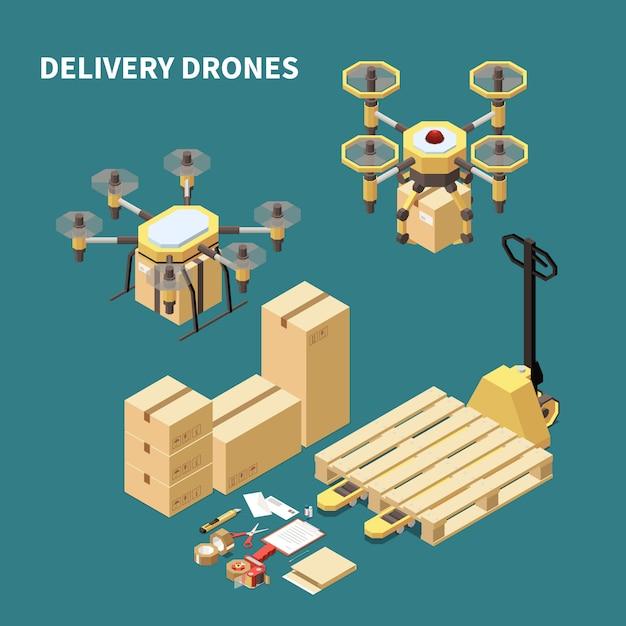Isometrische zusammensetzung der drohnen-quadrocopter mit bildern von ferngesteuerten flugzeugen und paketboxen mit verpackungsverschlüssen Kostenlosen Vektoren