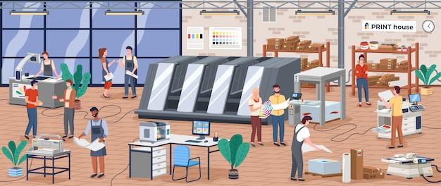 Isometrische zusammensetzung der druckerei-polygraphieindustrie mit menschlichen zeichen Premium Vektoren
