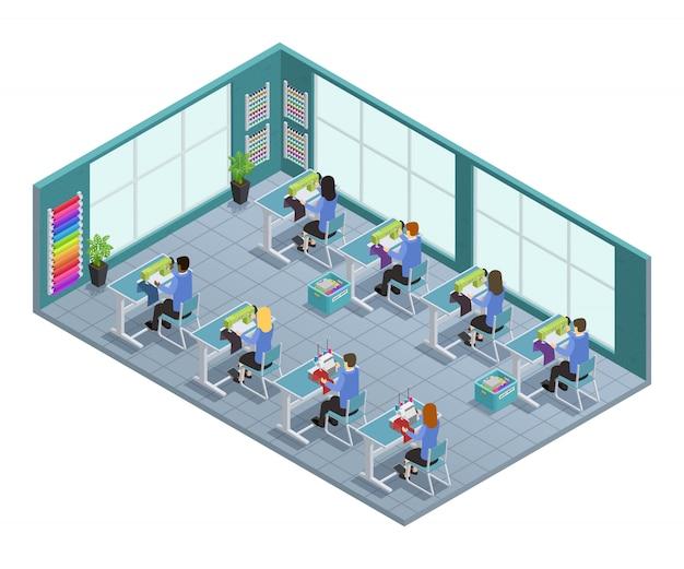 Isometrische zusammensetzung der fabrik des kleides 3d mit werkstatt auf dem herstellen im fabrikvektor illustrati Kostenlosen Vektoren