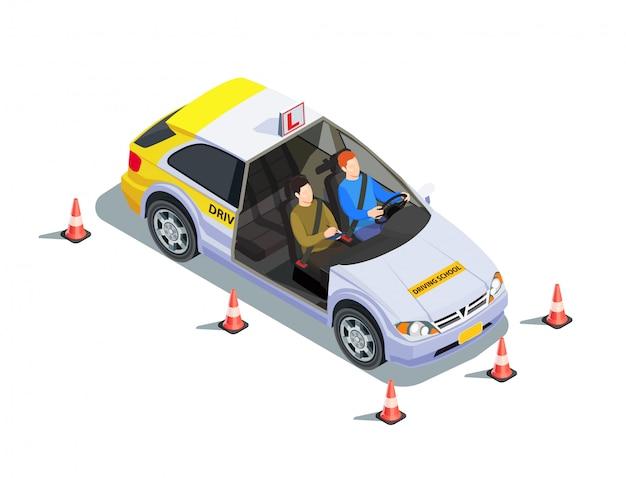 Isometrische zusammensetzung der fahrschule mit bildern des lehrers und des lernenden im auto umgeben durch sicherheitskegelillustration Kostenlosen Vektoren