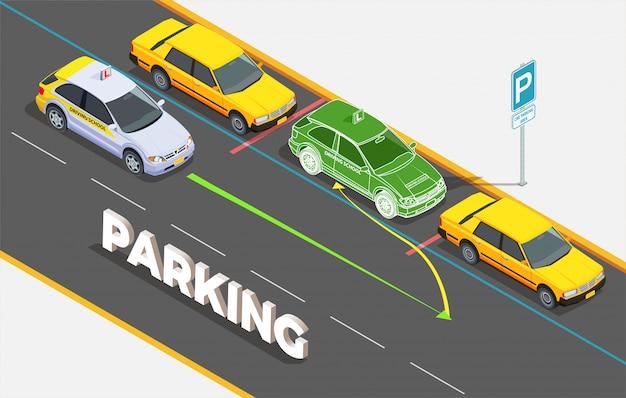 Isometrische zusammensetzung der fahrschule mit text und autos auf dem parken mit phantombild und bunter pfeilillustration Kostenlosen Vektoren