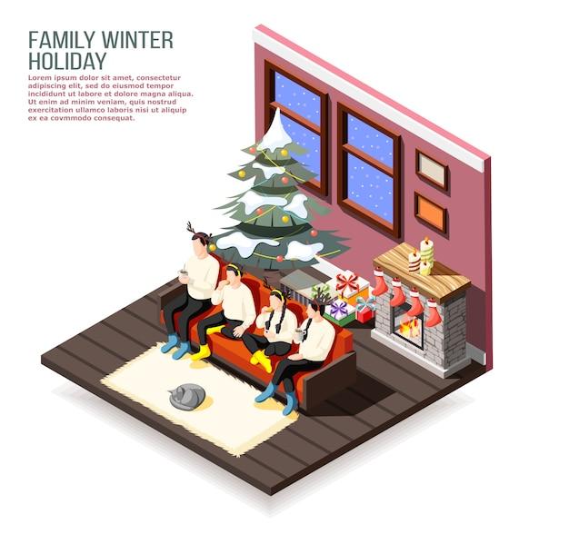 Isometrische zusammensetzung der familienweihnachtsferien mit eltern und kindern auf sofa im dekorierten hauptinnenraum Kostenlosen Vektoren