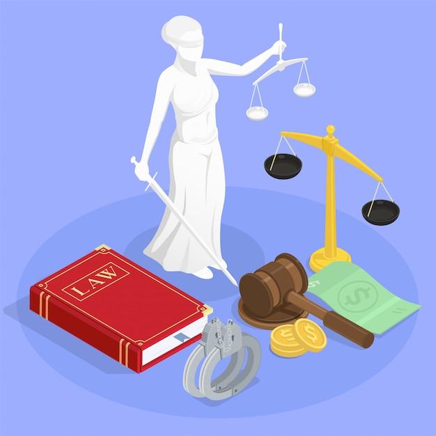 Isometrische zusammensetzung der gesetzesgerechtigkeit mit statue des themis-gesetzesbuches armbänder und andere gerichtsbarkeitssymbolillustration Kostenlosen Vektoren