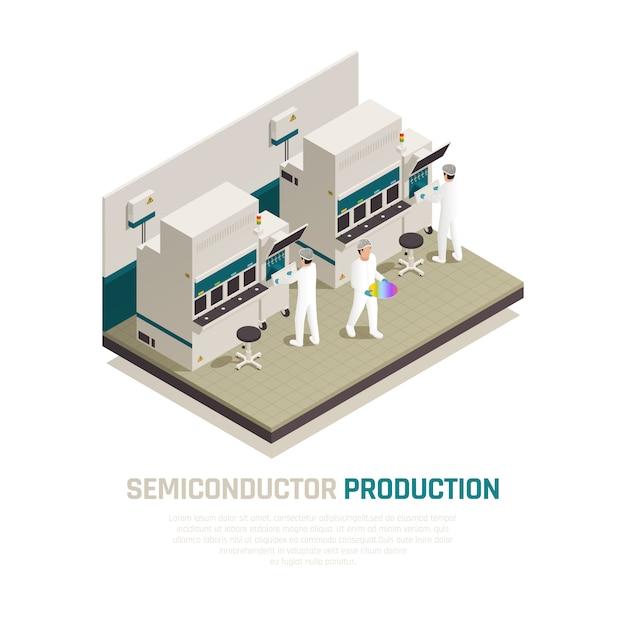 Isometrische zusammensetzung der halbleiterchipproduktion mit maschinenfabriken für elektronische siliziumchipfabriken und menschlicher arbeitervektorillustration Kostenlosen Vektoren