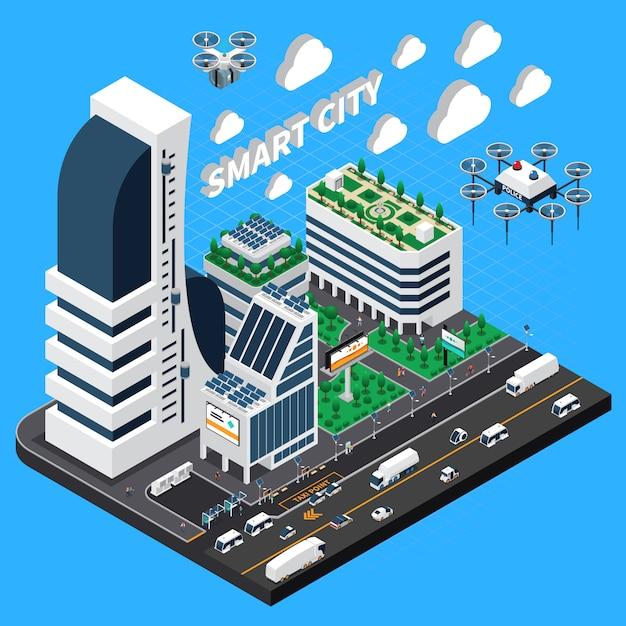 Isometrische zusammensetzung der intelligenten stadt mit transport- und gebäudesymbolillustration Kostenlosen Vektoren