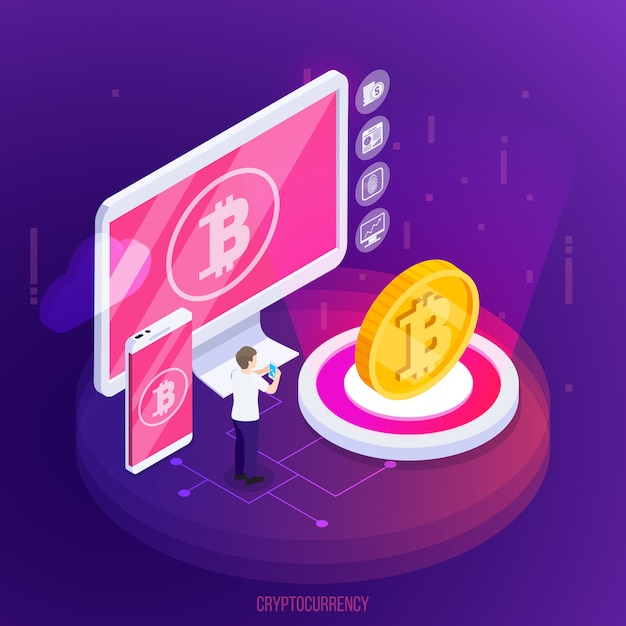 Isometrische zusammensetzung der kryptowährungsfinanztechnologie mit elektronischen geräten und goldener münze auf purpur Kostenlosen Vektoren