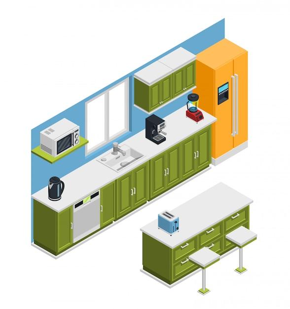 Isometrische zusammensetzung der küchenmöbel Kostenlosen Vektoren