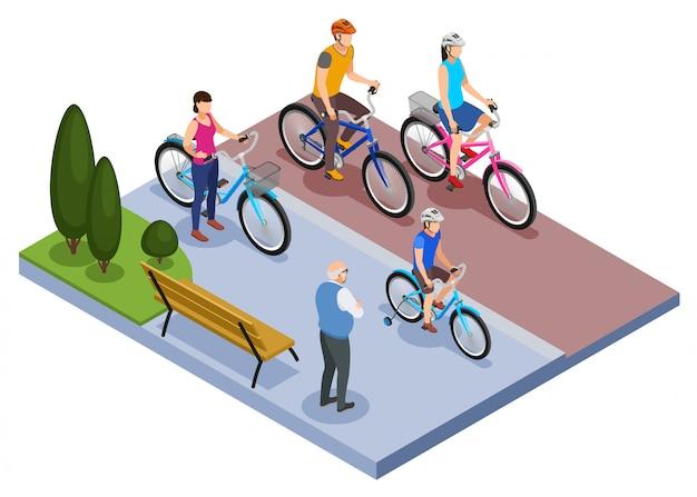 Isometrische zusammensetzung der leute und des fahrrads mit familienfahrrädern in der stadtparkvektorillustration Kostenlosen Vektoren