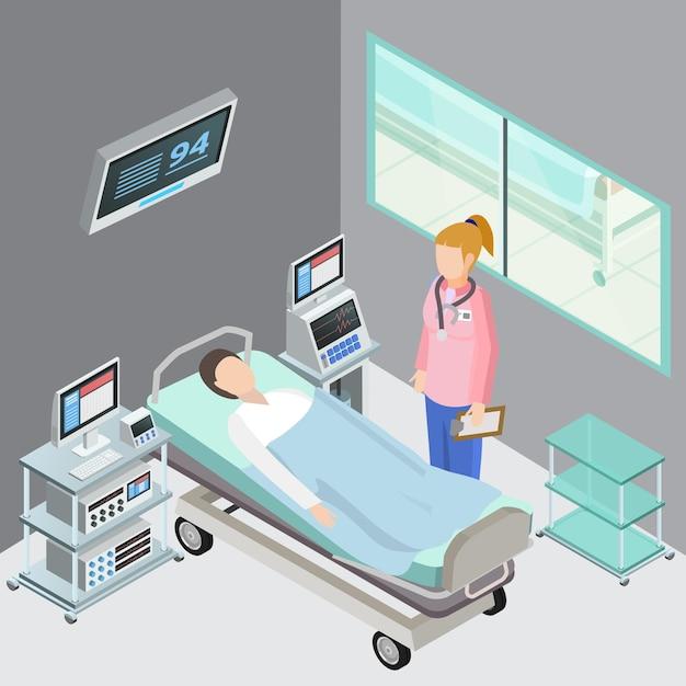 Isometrische zusammensetzung der medizinischen ausrüstung mit innenärzten der beobachtungsstation und geduldigen menschlichen charakteren Kostenlosen Vektoren