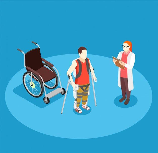 Isometrische zusammensetzung der medizinischen rehabilitation Kostenlosen Vektoren