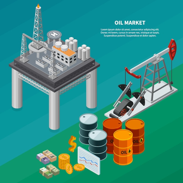 Isometrische zusammensetzung der ölindustrie mit isometrischer vektorillustration der raffinerie-meeresplattform-pumpjack-kanister-geld 3d Kostenlosen Vektoren