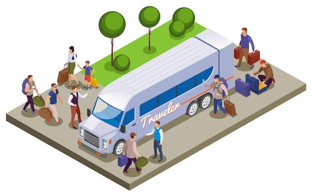 Isometrische zusammensetzung der reiseleute mit passagieren, die sich am touristenbusbahnhof zum reisen treffen Kostenlosen Vektoren