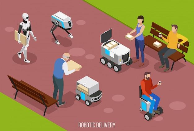 Isometrische zusammensetzung der roboterlieferung mit den leuten, die ihre bestellung unter verwendung der illustration der autonomen fahrzeuge empfangen Kostenlosen Vektoren