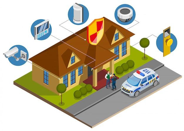 Isometrische zusammensetzung der sicherheitssysteminstallation mit symbolen der gebäudeschutzvorrichtungen und ankunft des überwachungsdienstoffiziers Kostenlosen Vektoren
