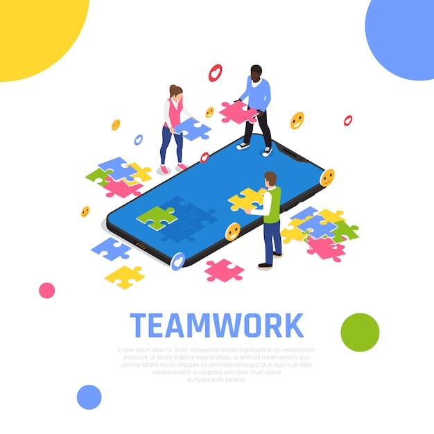 Isometrische zusammensetzung der teamwork-zusammenarbeit mit dem zusammenfügen von puzzlestücken als teambildungs-tätigkeitsübung Kostenlosen Vektoren