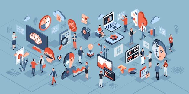 Isometrische zusammensetzung der technologie der künstlichen intelligenz Premium Vektoren