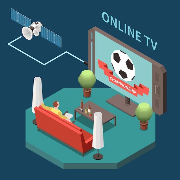 Isometrische zusammensetzung der telekommunikation mit mann, der satellitenfernsehen zu hause 3d 3d vektorillustration beobachtet Kostenlosen Vektoren